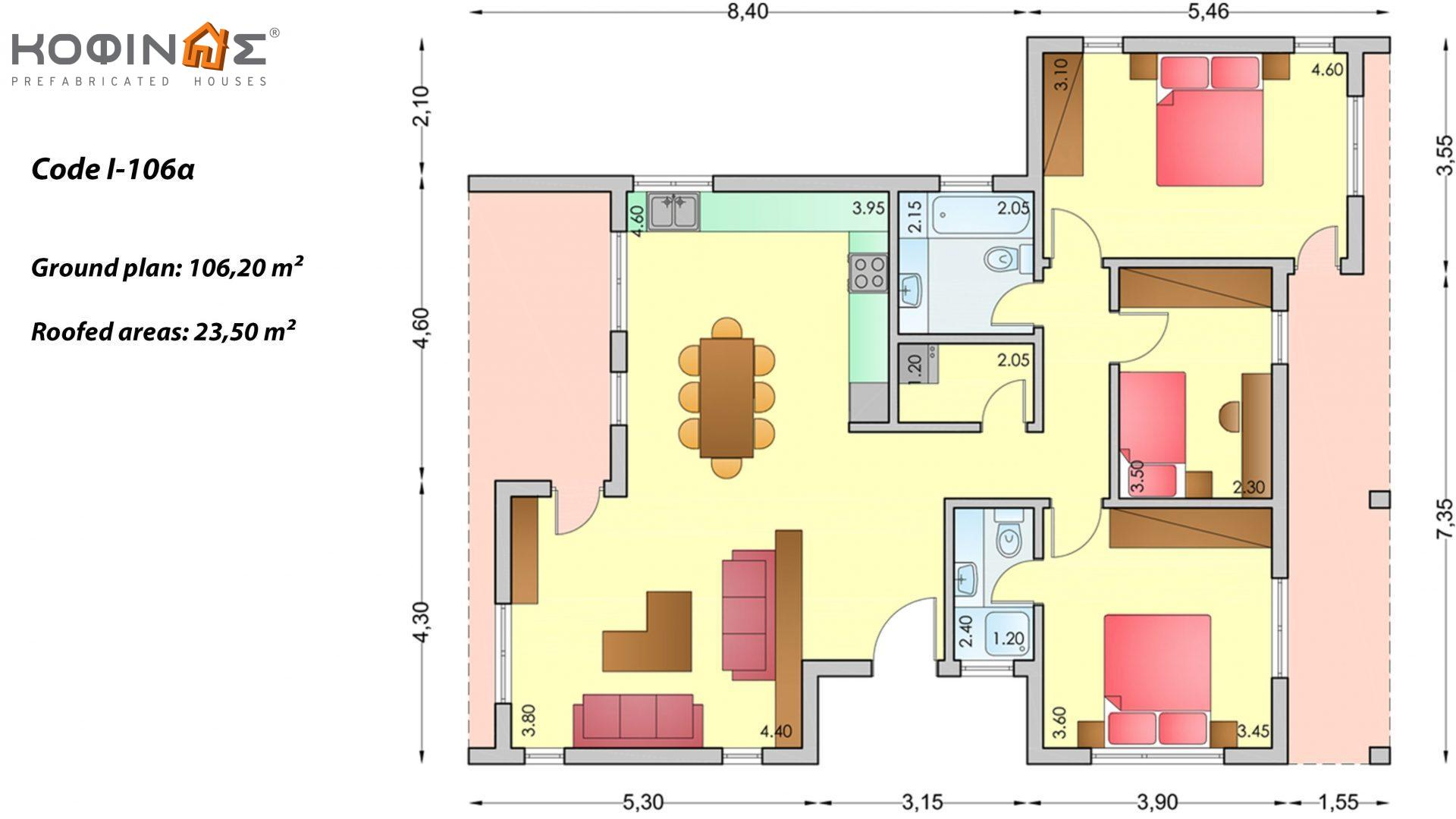1-story house I-106a, total surface of 106,20 m², roofed areas 23,50 m²