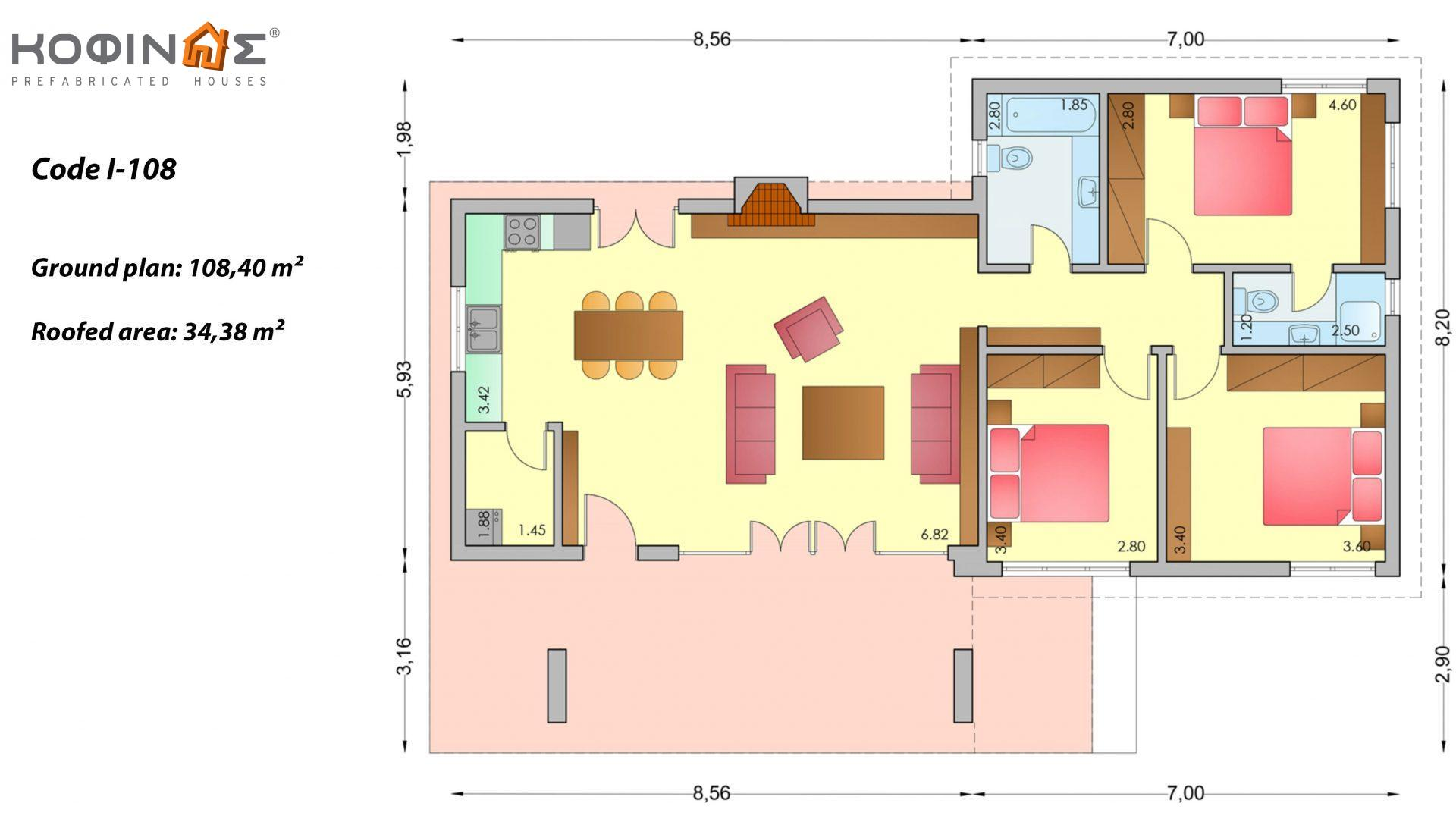 1-story house I-108, total surface of 108,40 m², roofed areas 34,38 m²