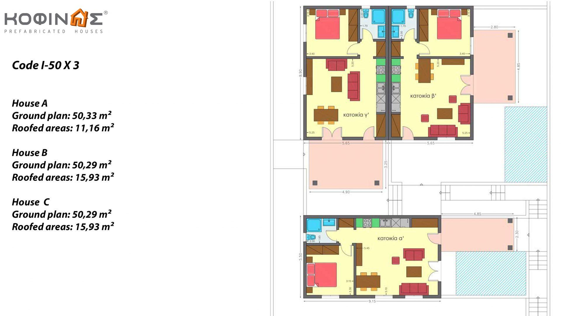 1-story house I-50, total surface of 50.30 m², roofed areas 11.16 m² for house A,15.93 m² for house B and 15.93 m² for house C