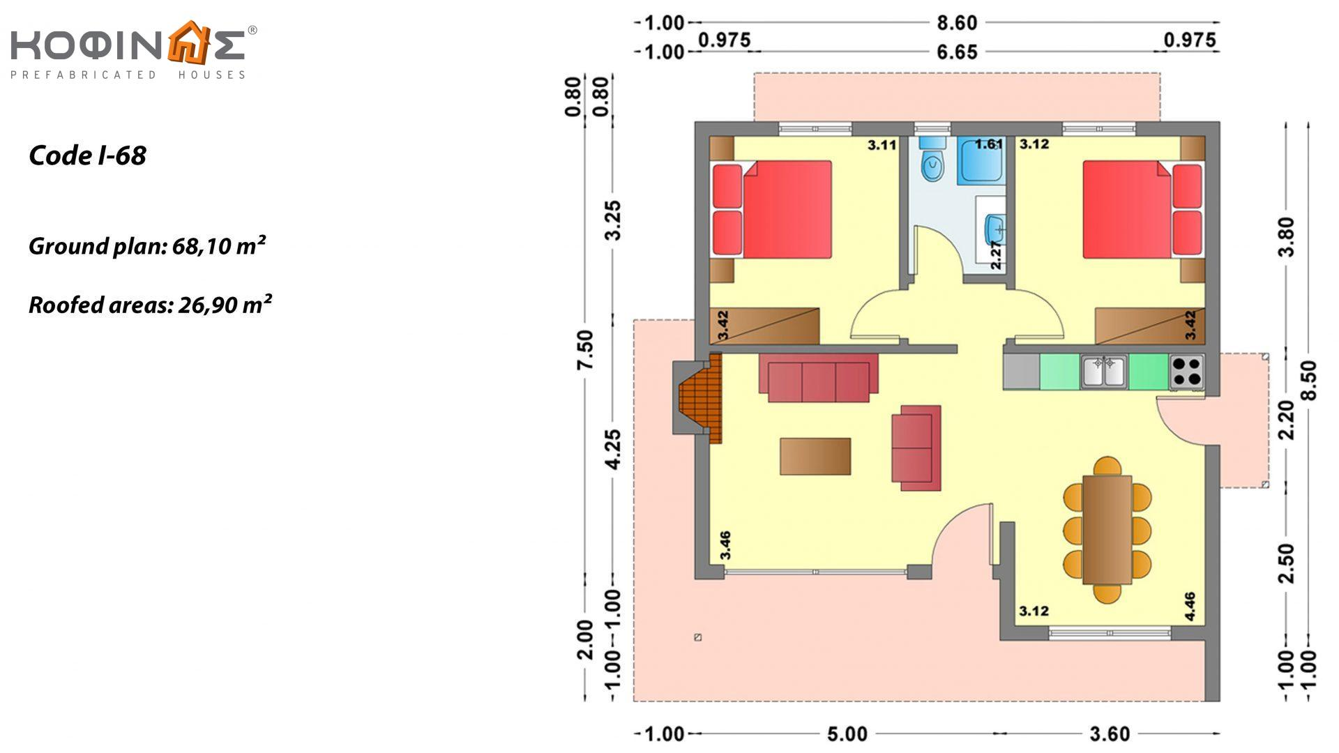 1-story house I-68, total surface of 68.10 m², roofed areas 26.90 m²