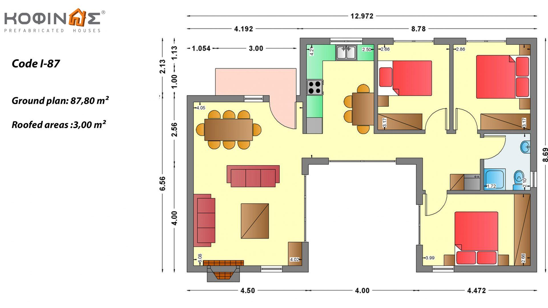 1-story house I-87, total surface of 87,80 m², roofed areas 3,00 m²