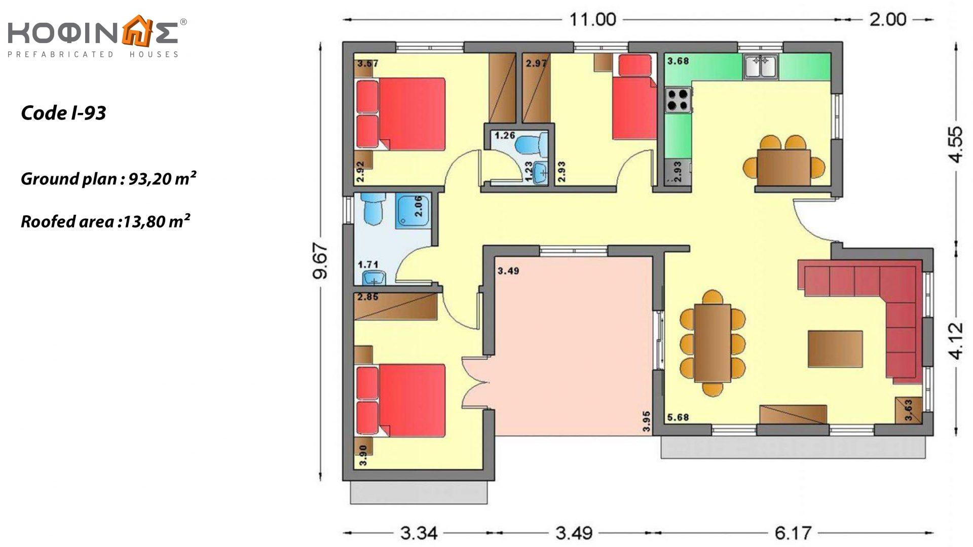 1-story house I-93, total surface of 93,20 m², roofed areas 13,80 m²