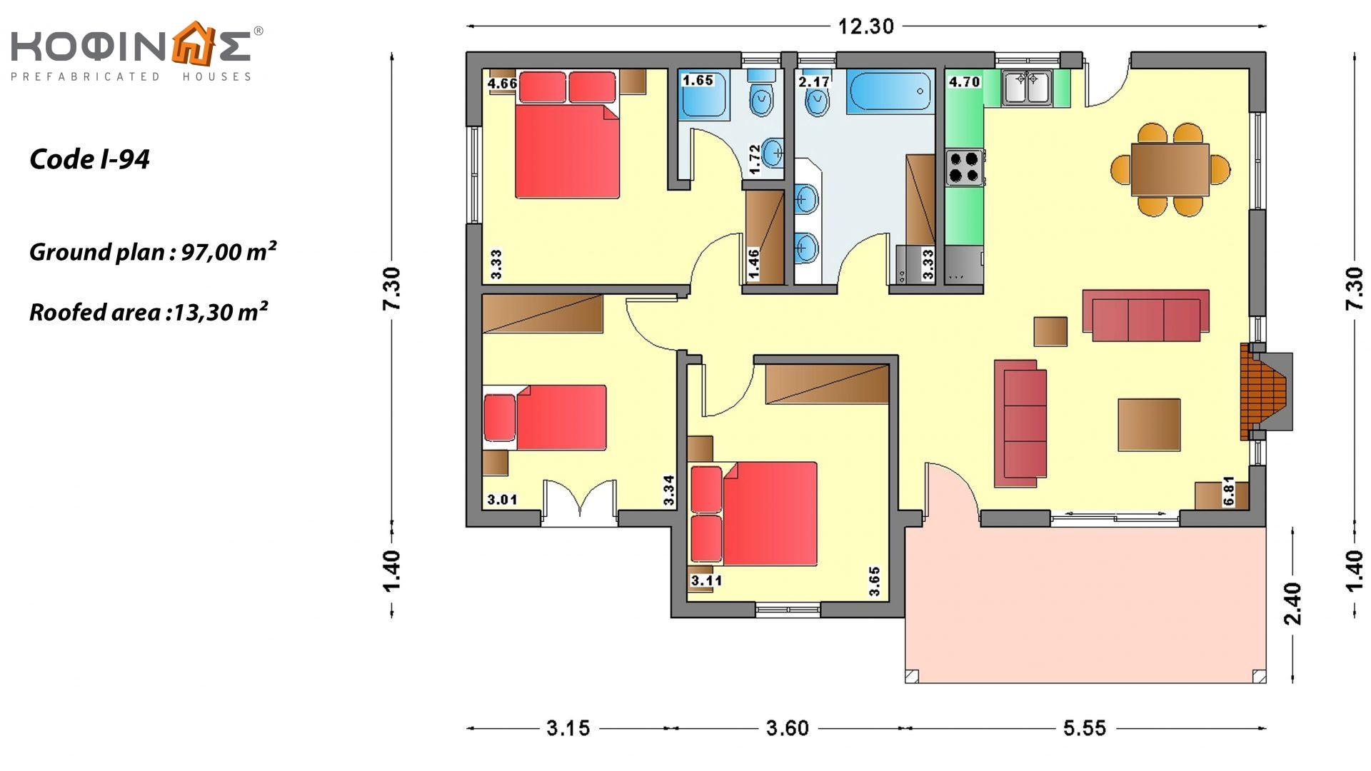 1-story house I-94, total surface of 94,80 m², roofed areas 13,30 m²