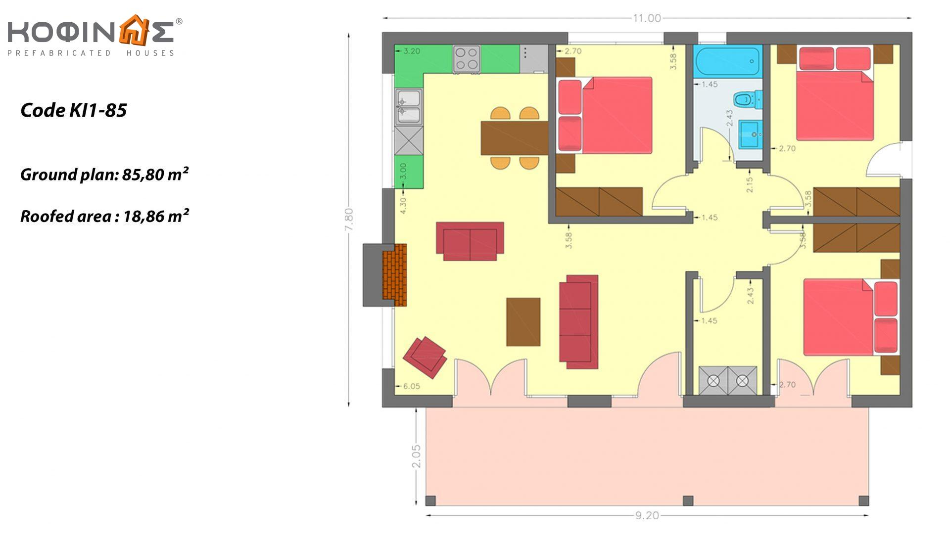 1-story house KI1-85, total surface of 85,80 m², roofed areas 18,86 m²