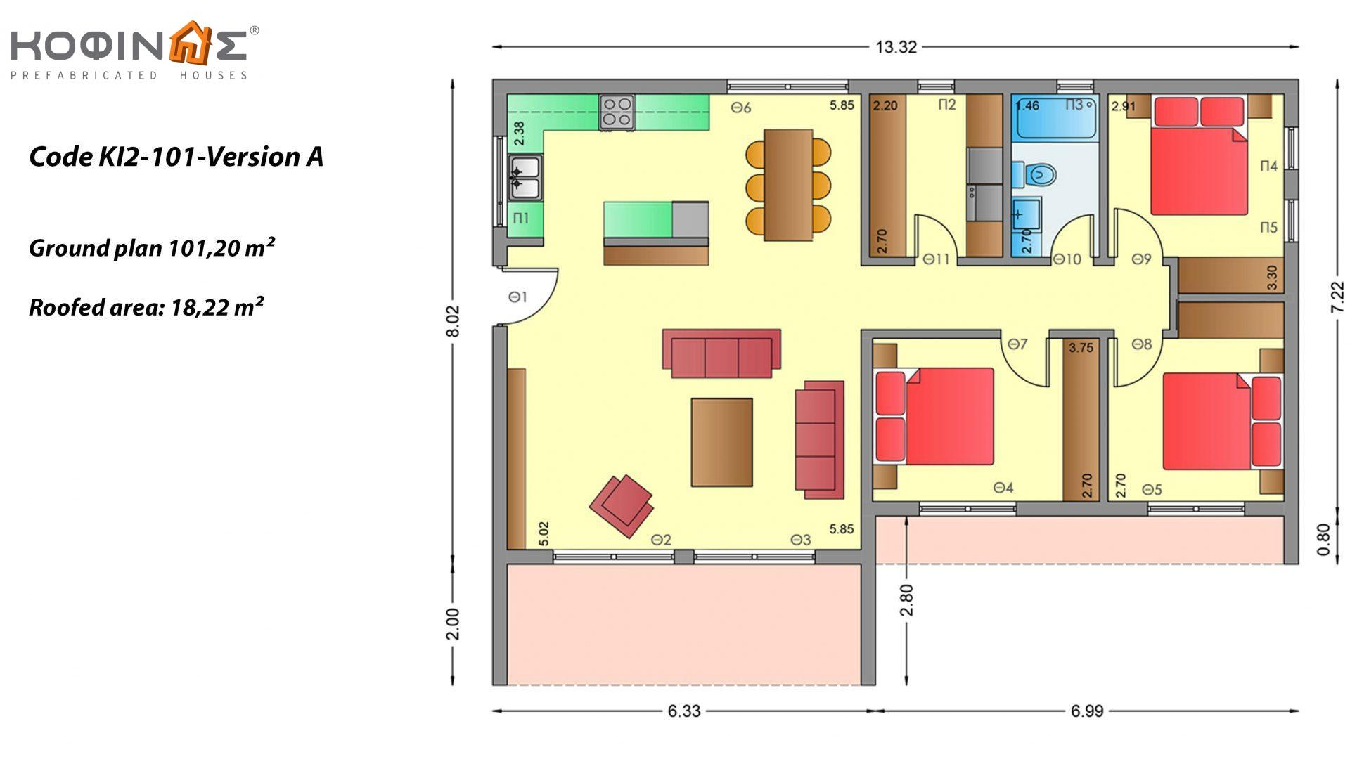 1-story house KI2-101, total surface of 101,20 m², roofed areas 18,22 m²