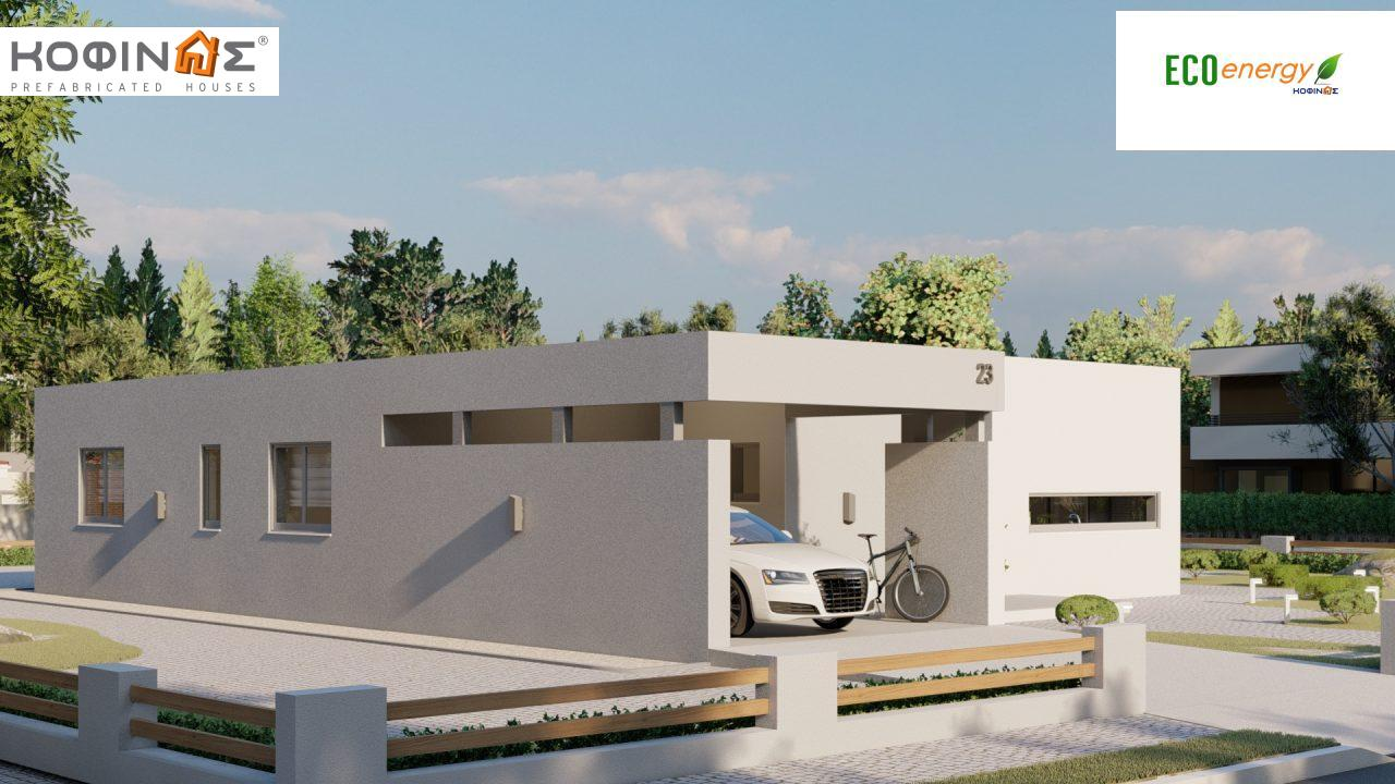 1-story house Ι-140Α, total surface of 140,33 m², +Garage 27.51 m²(=167,84 m²), roofed areas 45,30 m² and 44,71 m² for version Β3