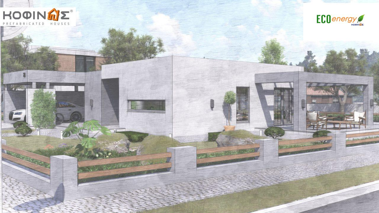 1-story house Ι-140Α, total surface of 140,33 m², +Garage 27.51 m²(=167,84 m²), roofed areas 45,30 m² and 44,71 m² for version Β6