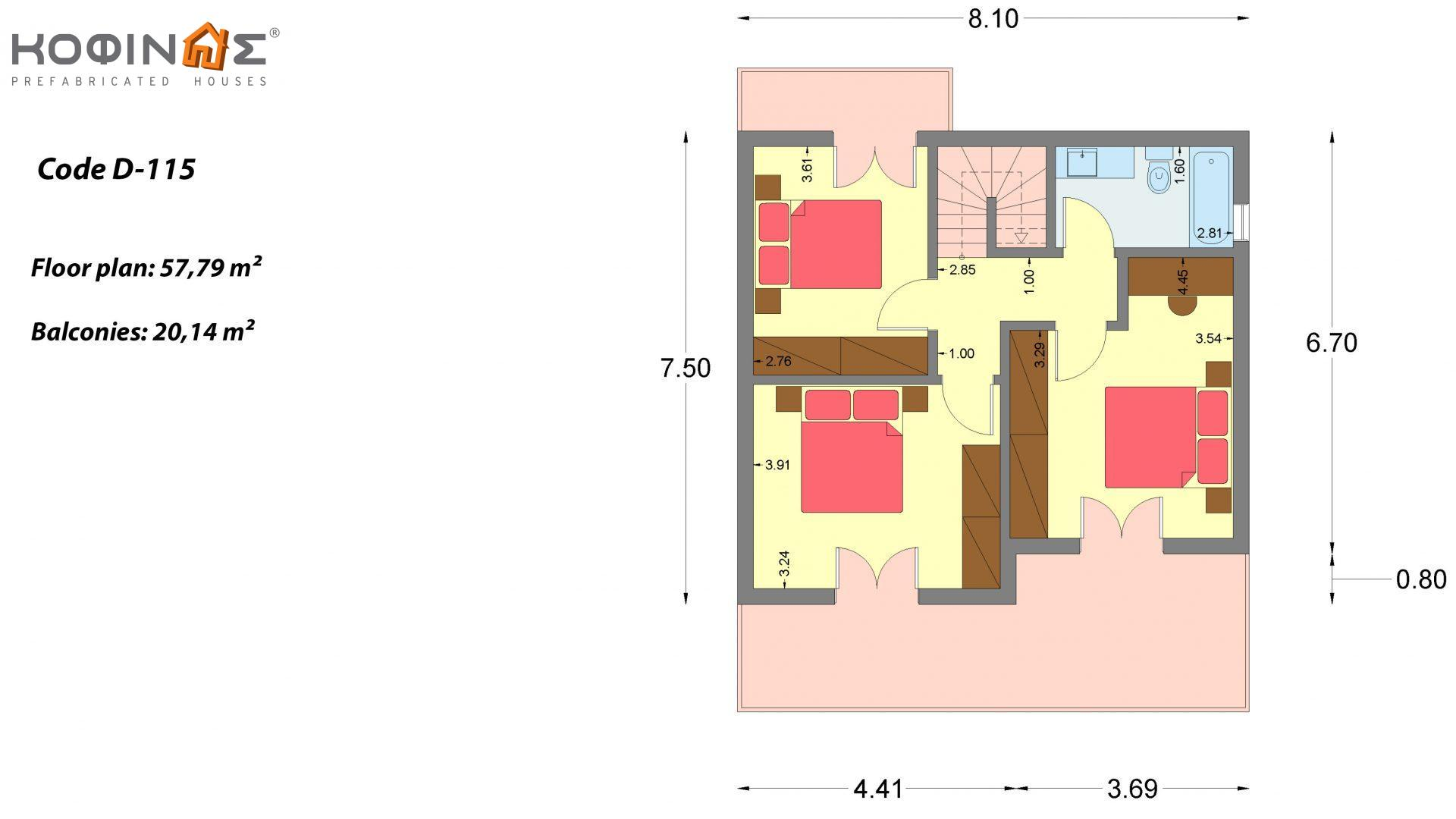 2-story house D-115, total surface of 115,58 m²,roofed areas 24,33 m²,balconies 20,14 m²