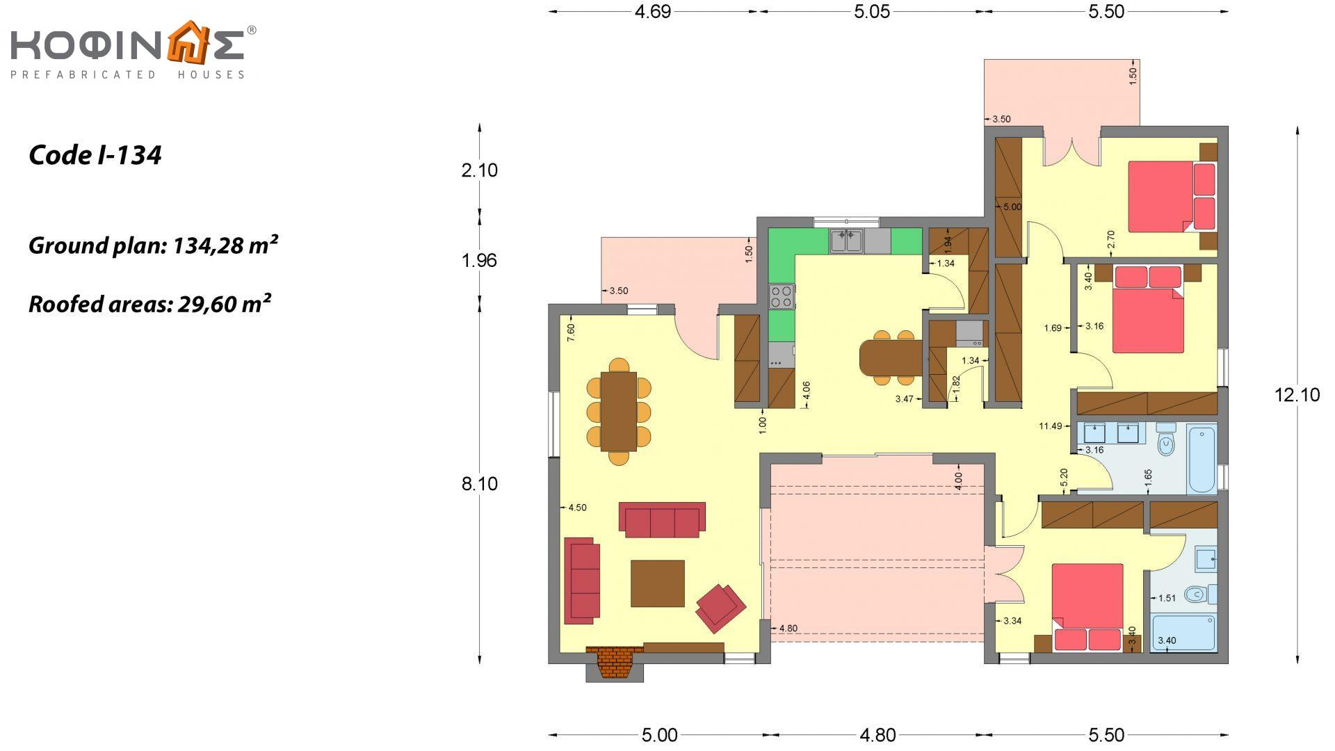 1-story house I-134, total surface of 134.28 m², roofed areas 29.60 m²