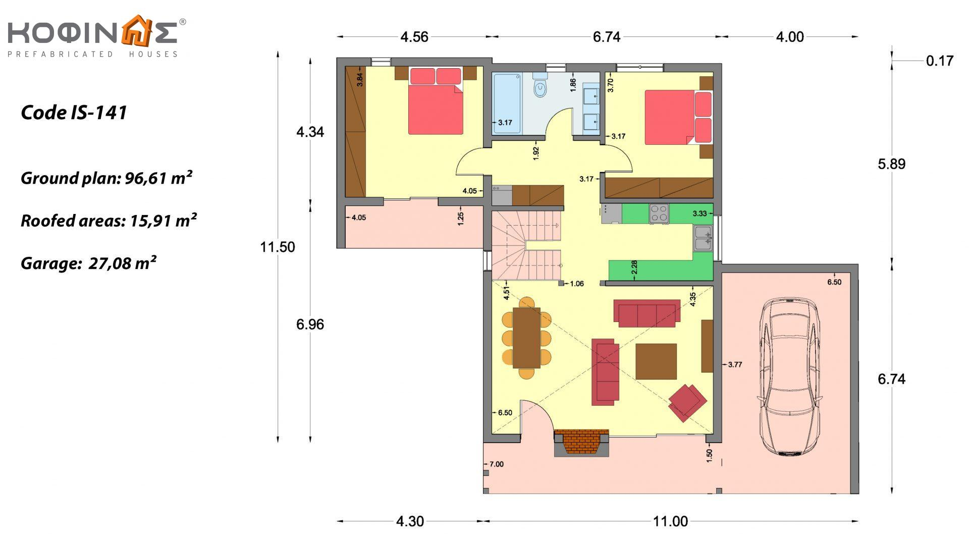 1-story house with attic IS-141, total surface of 141,95 m² , +Garage 27.08 m²(=169.03 m²),roofed areas 15.91 m²