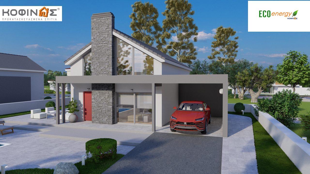 Ισόγεια Κατοικία με Σοφίτα IS-141, συνολικής επιφάνειας 141,95 τ.μ. , +Γκαράζ 27.08 m²(=169.03 m²),συνολική επιφάνεια στεγασμένων χώρων 15.91 τ.μ.2