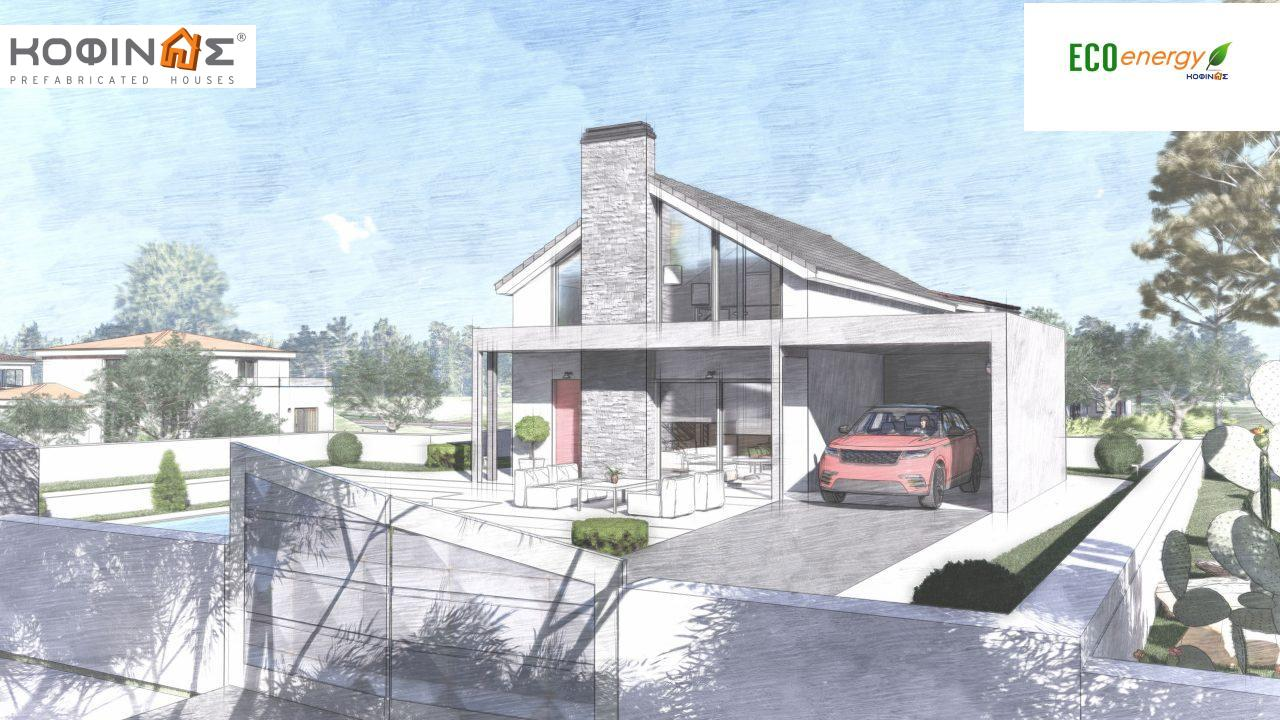 1-story house with attic IS-123, total surface of 123,25 m², +Garage 27. 08 m²(=150.33 m²),roofed areas 10,50 m²0