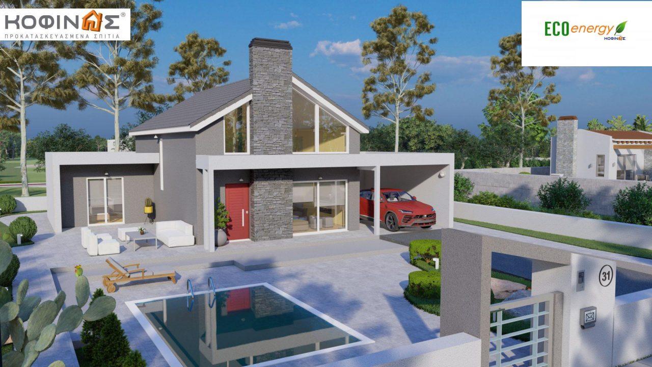 Ισόγεια Κατοικία με Σοφίτα IS-141, συνολικής επιφάνειας 141,95 τ.μ. , +Γκαράζ 27.08 m²(=169.03 m²),συνολική επιφάνεια στεγασμένων χώρων 15.91 τ.μ.0
