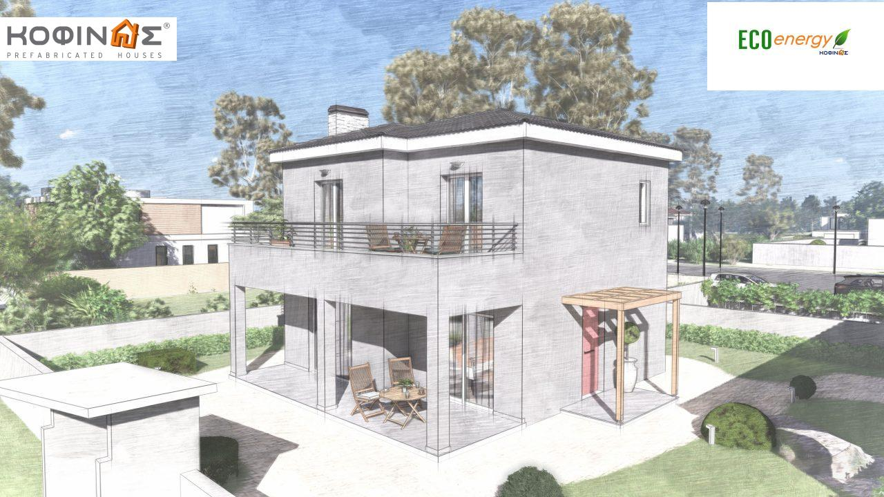 2-story house D-115, total surface of 115,58 m²,roofed areas 24,33 m²,balconies 20,14 m²5