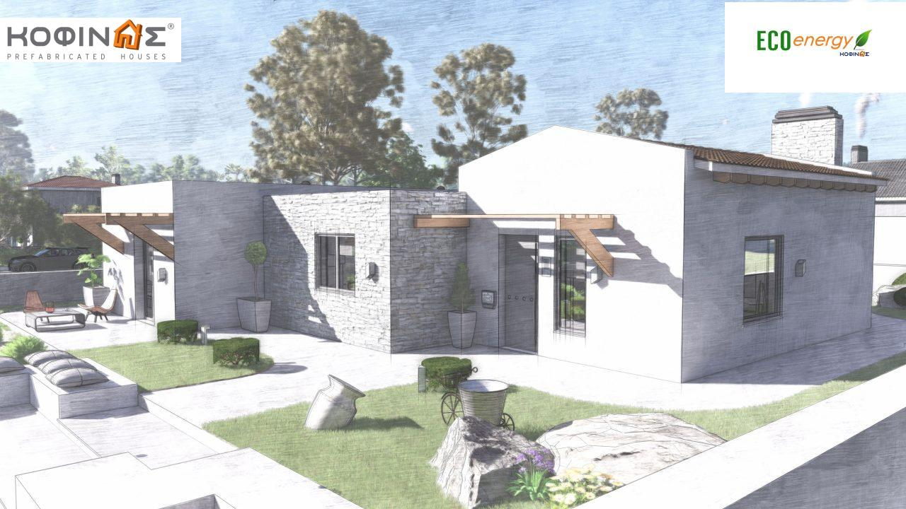 1-story house I-134, total surface of 134.28 m², roofed areas 29.60 m²7