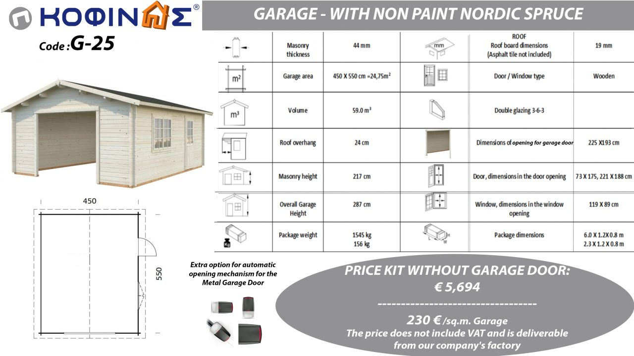 Garage G-25, total area 24.75 sq.m.2