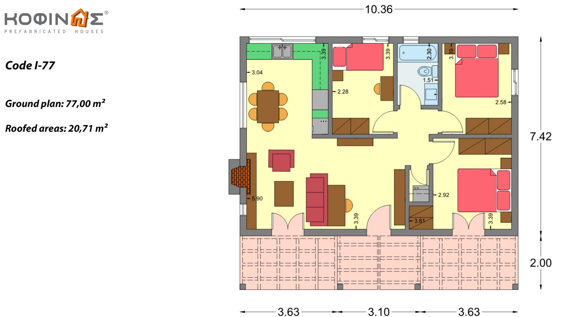 1-story house I-77, total surface of 77.00 m², roofed areas 20.71 m²