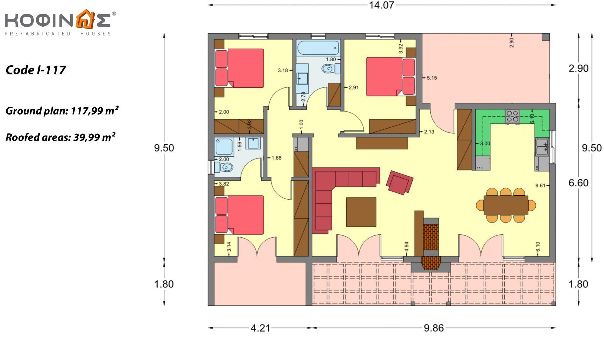 1-story house I-117, total surface of 117,99 m², roofed areas 39,99 m²