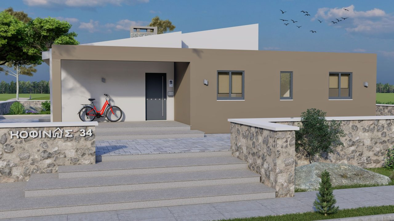 1-story house I-117, total surface of 117,99 m², roofed areas 39,99 m²3
