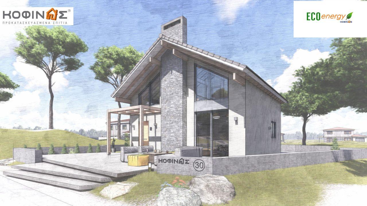 Ισόγεια Κατοικία με Σοφίτα IS-115, συνολικής επιφάνειας 115,18 τ.μ. ,συνολική επιφάνεια στεγασμένων χώρων 17,85 τ.μ.3