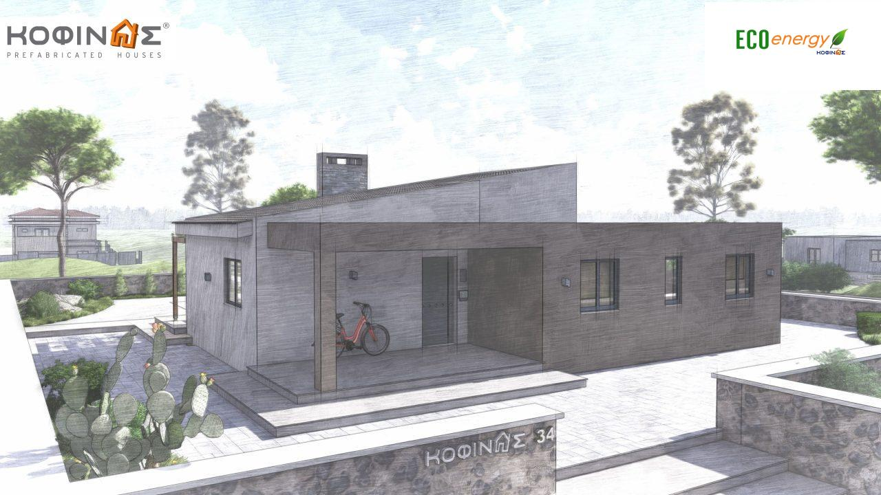 1-story house I-117, total surface of 117,99 m², roofed areas 39,99 m²5