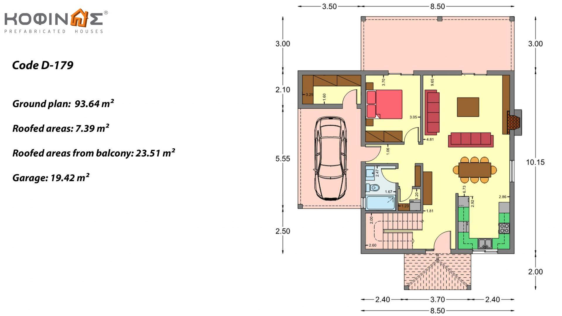 2-story house D-179, total surface of 179.38 m², +Garage 19.42 τ.μ. (=198.80 m²), roofed areas 30.90 m², Balconies 23.51 m²