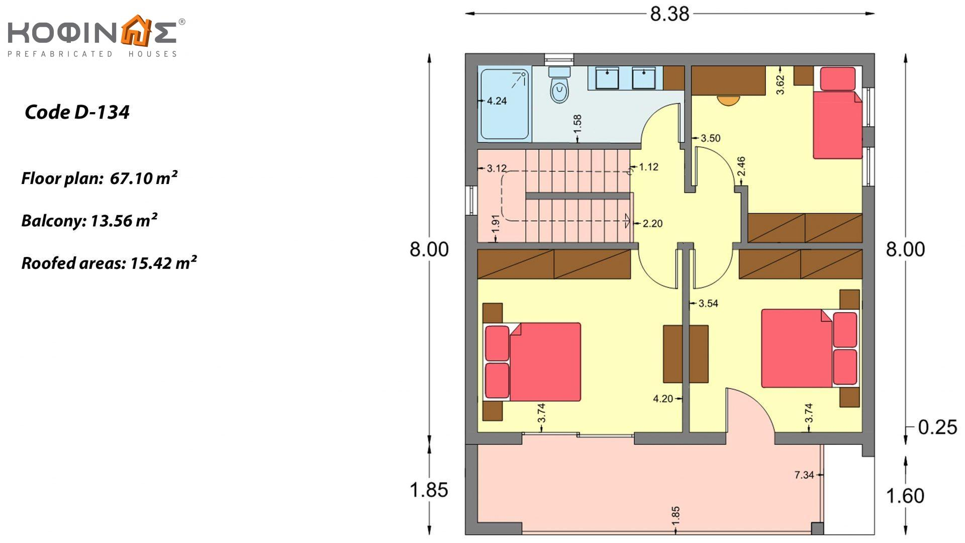 2-story house D-134, total surface of  134,26 m², roofed areas 31,28 m², balconies13,56 m²