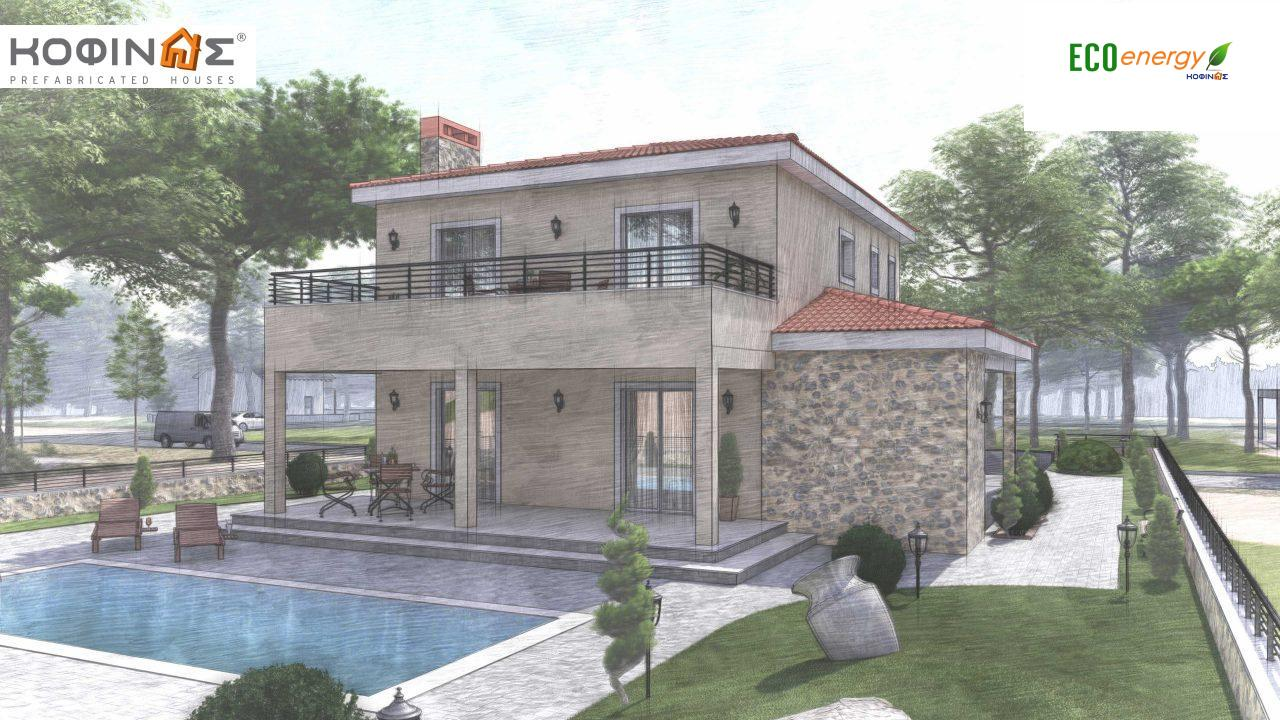 2-story house D-179, total surface of 179.38 m², +Garage 19.42 τ.μ. (=198.80 m²), roofed areas 30.90 m², Balconies 23.51 m²8