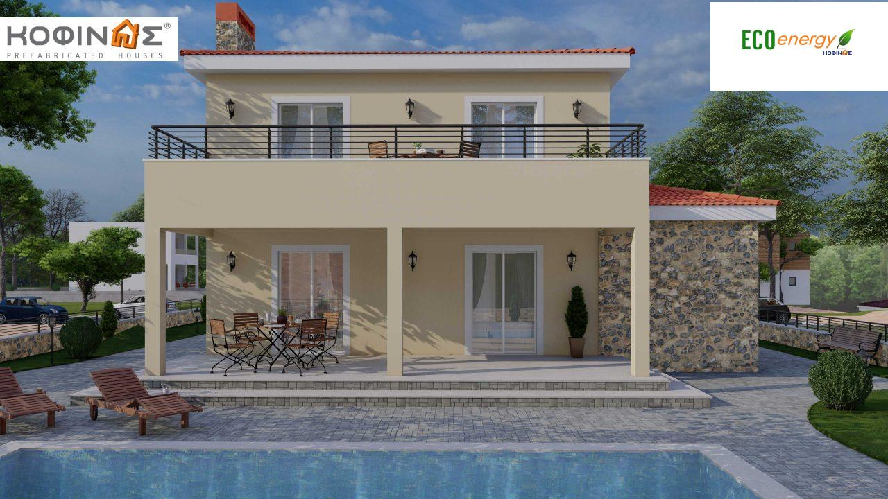 2-story house D-179, total surface of 179.38 m², +Garage 19.42 τ.μ. (=198.80 m²), roofed areas 30.90 m², Balconies 23.51 m²0