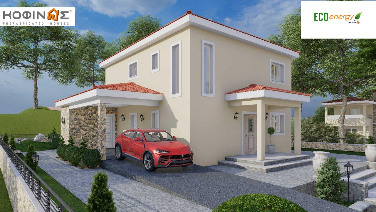2-story house D-179, total surface of 179.38 m², +Garage 19.42 τ.μ. (=198.80 m²), roofed areas 30.90 m², Balconies 23.51 m²2