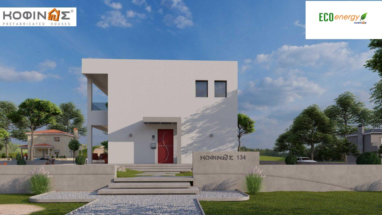2-story house D-134, total surface of  134,26 m², roofed areas 31,28 m², balconies13,56 m²3