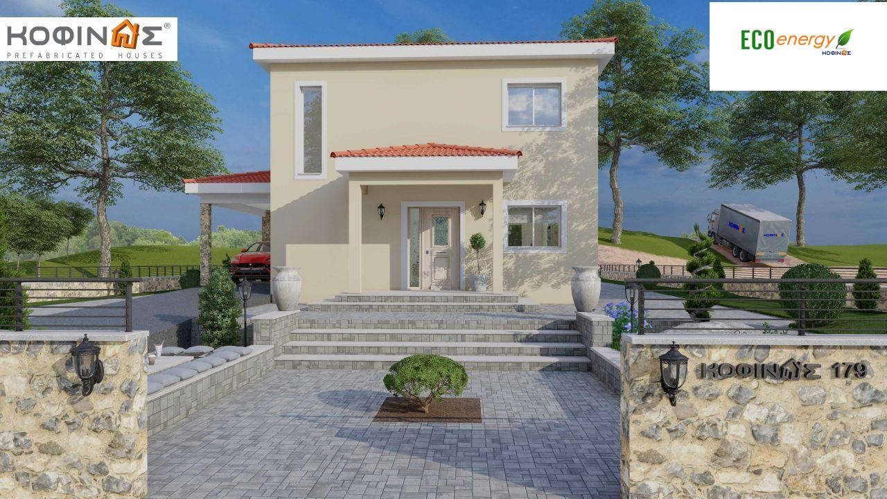 2-story house D-179, total surface of 179.38 m², +Garage 19.42 τ.μ. (=198.80 m²), roofed areas 30.90 m², Balconies 23.51 m²4