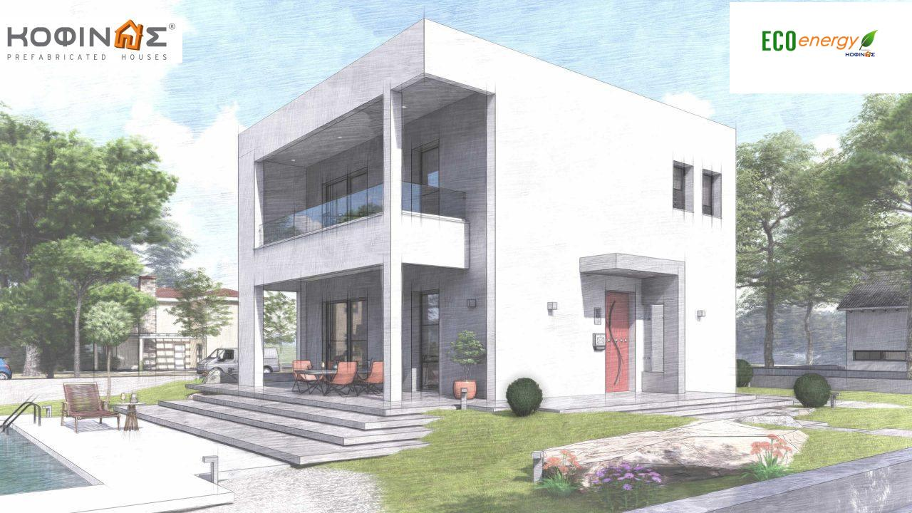 2-story house D-134, total surface of  134,26 m², roofed areas 31,28 m², balconies13,56 m²5