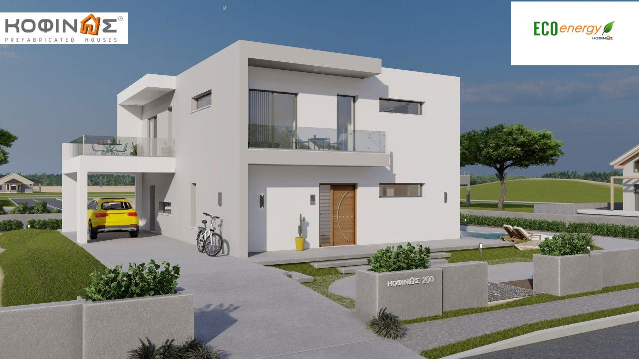 2-story house D-200, total surface of 200,08 m²,+Garage 20.82 m²(=220.90 m²),roofed areas 34.40 m²,balconies 32.27 m²0