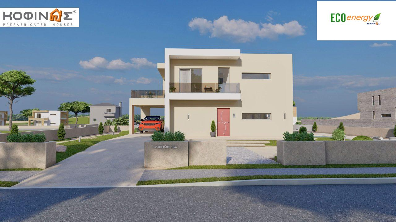 2-story house D-164, total surface of 164.94 m² ,+Garage 20.82 m²(=185.76 m²), roofed areas 32.38 m²,balconies 32.27 m²1