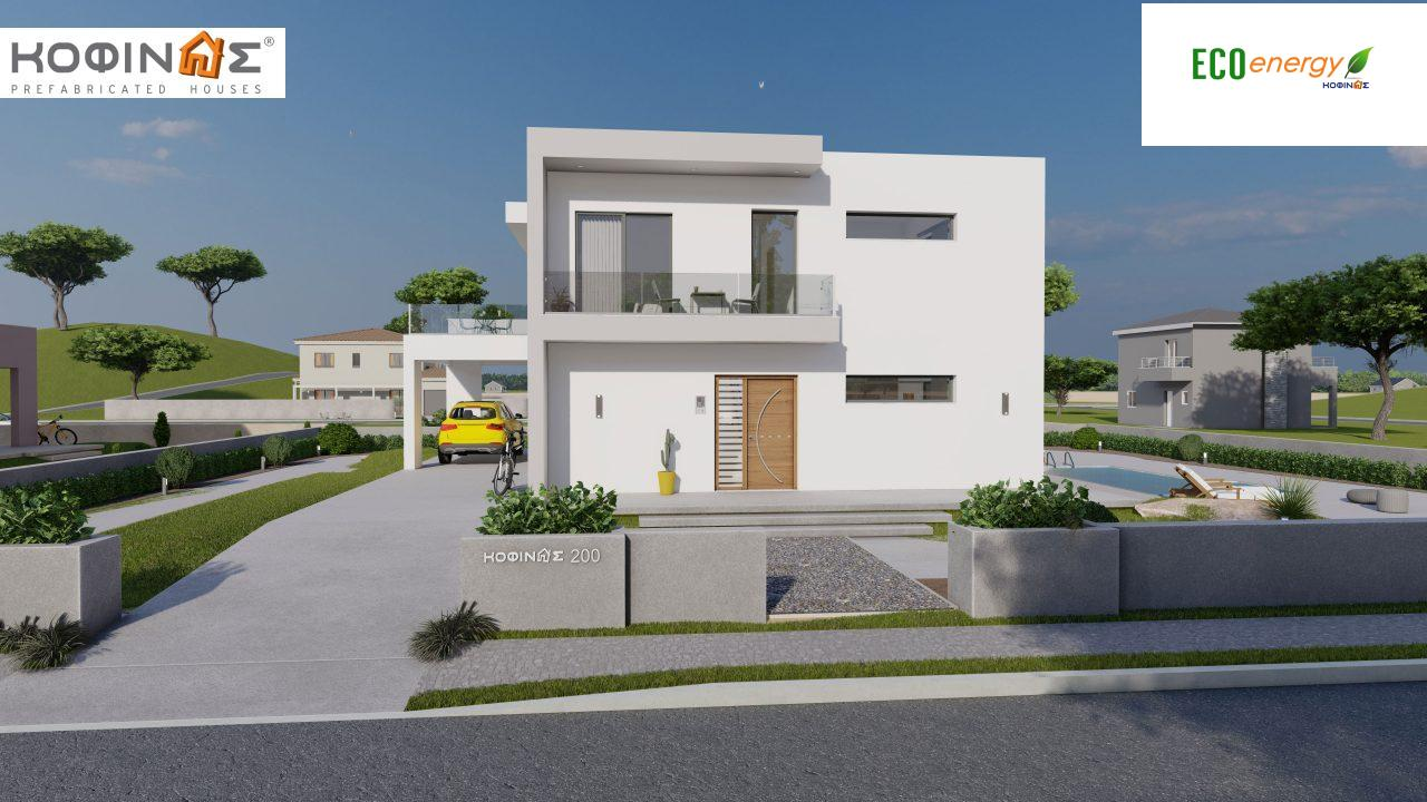 2-story house D-200, total surface of 200,08 m²,+Garage 20.82 m²(=220.90 m²),roofed areas 34.40 m²,balconies 32.27 m²2