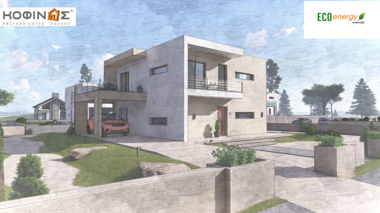 2-story house D-164, total surface of 164.94 m² ,+Garage 20.82 m²(=185.76 m²), roofed areas 32.38 m²,balconies 32.27 m²7