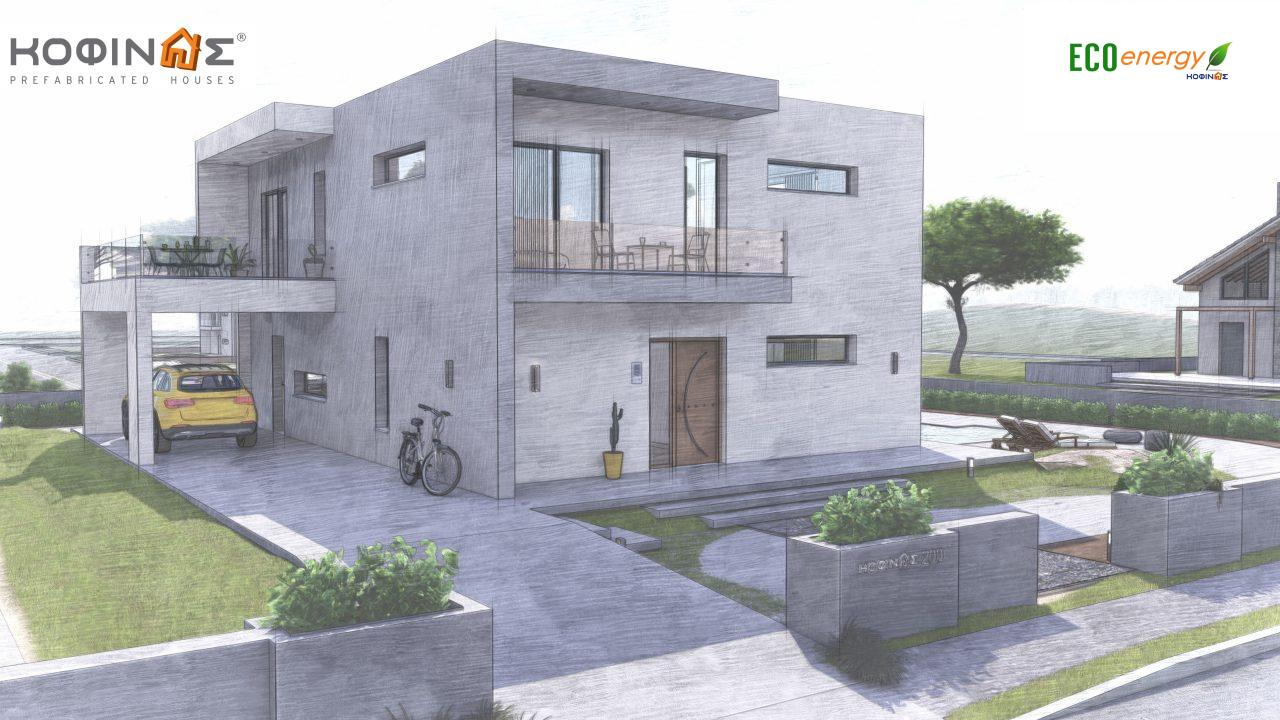 2-story house D-200, total surface of 200,08 m²,+Garage 20.82 m²(=220.90 m²),roofed areas 34.40 m²,balconies 32.27 m²6