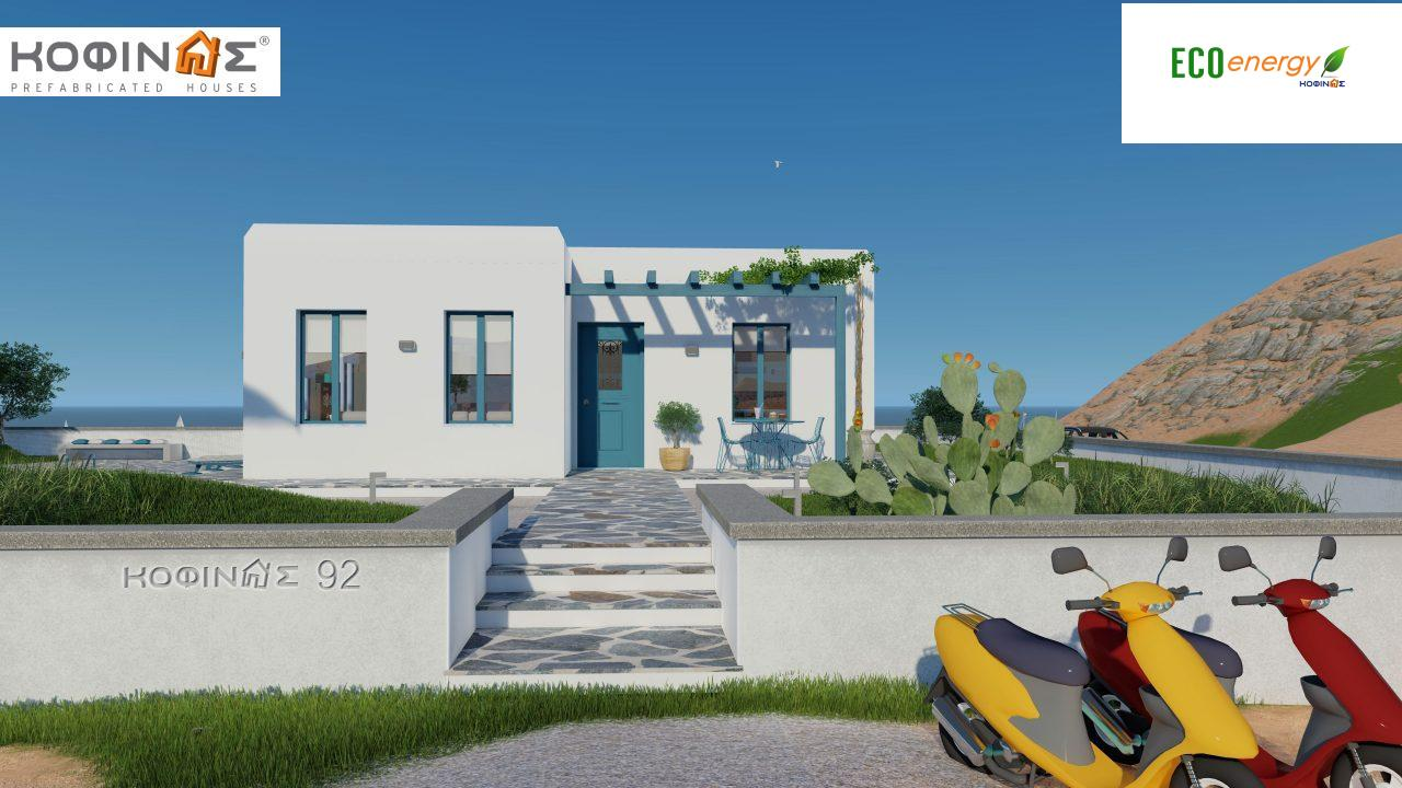 1-story house I-93, total surface of 93.12 m², roofed areas 21.03 m²1
