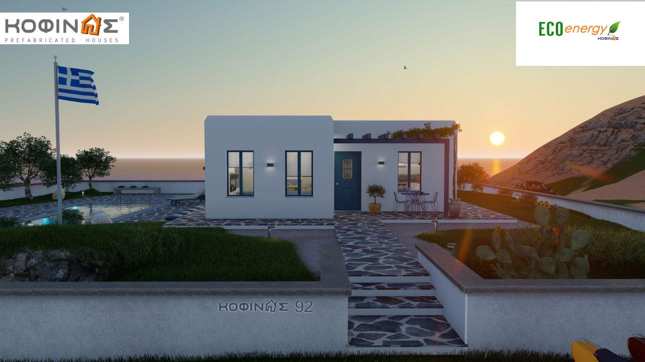 1-story house I-93, total surface of 93.12 m², roofed areas 21.03 m²2