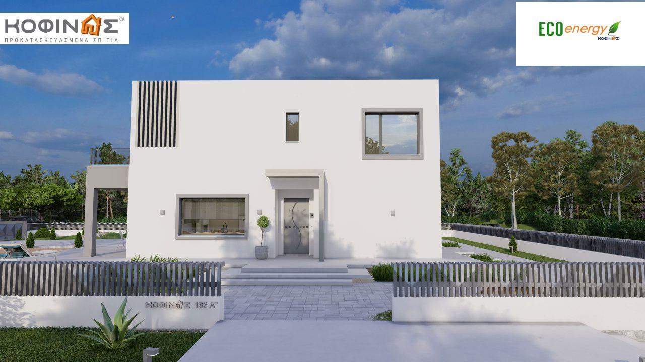 Διώροφη κατοικία D 183Α, συνολικής επιφάνειας 183,77 τ.μ.,+Γκαράζ 41,98 m²(=225,75 m²), στεγασμένοι χώροι 64,39 τ.μ., και μπαλκόνια 32.9 τ.μ.4