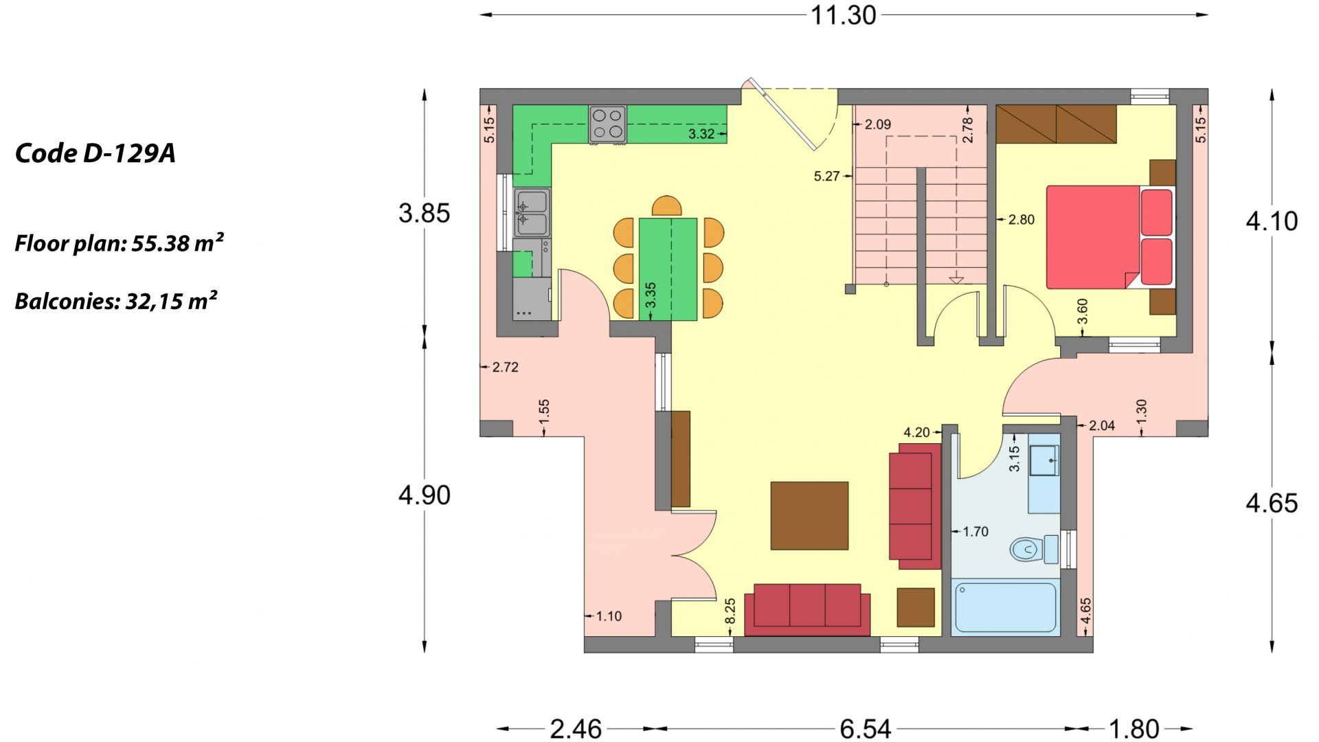 2-story house D-129A, total surface of 129,45 m²,roofed areas 13.39 m²,balconies 32.15 m²