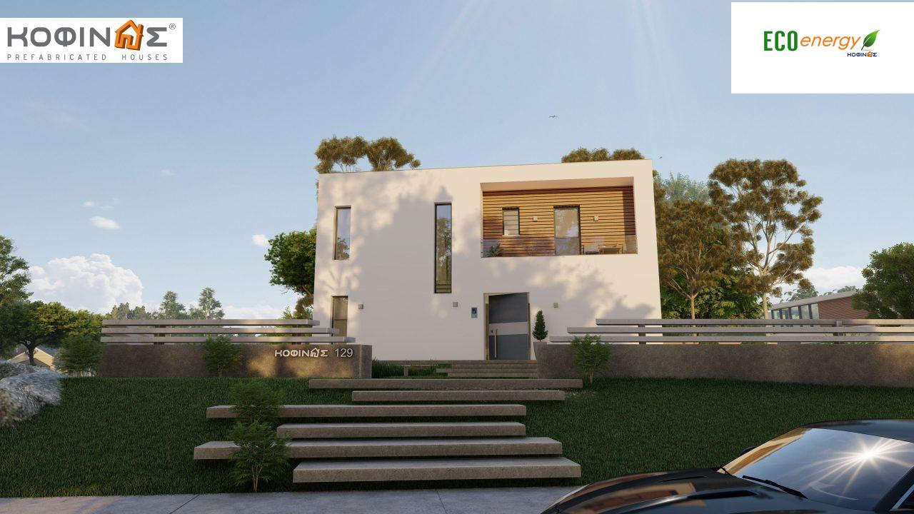 2-story house D-129A, total surface of 129,45 m²,roofed areas 13.39 m²,balconies 32.15 m²2