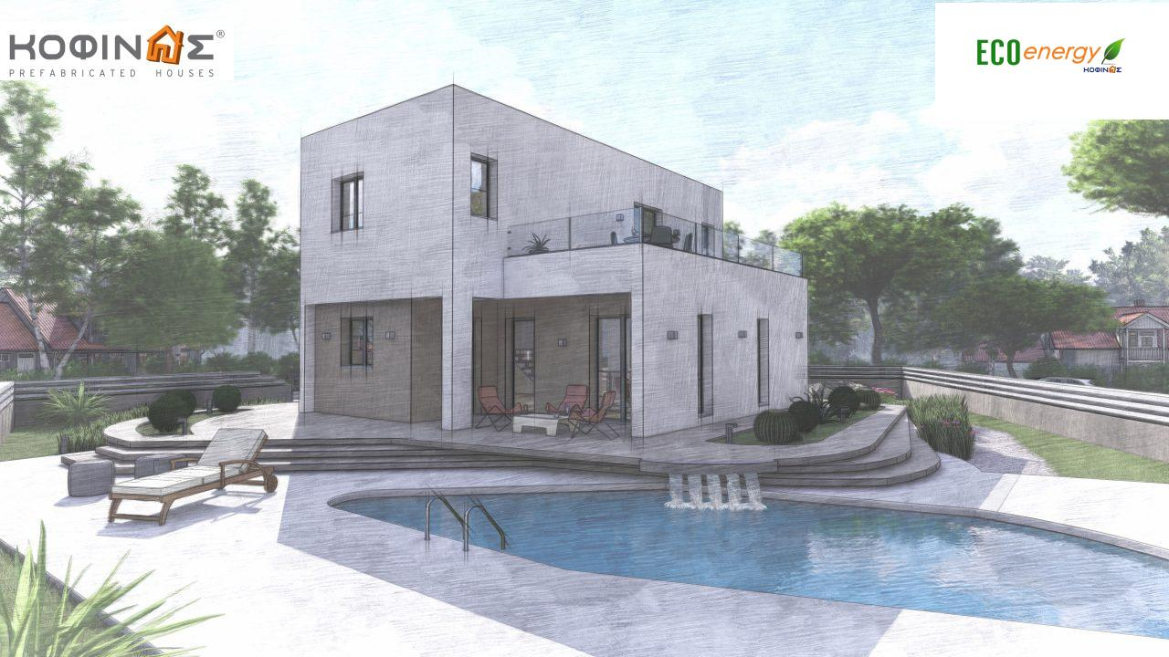 2-story house D-129A, total surface of 129,45 m²,roofed areas 13.39 m²,balconies 32.15 m²5
