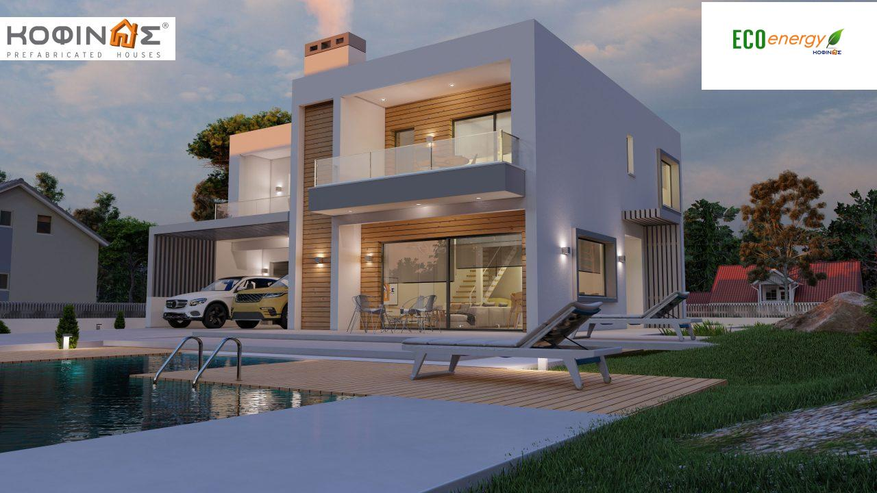 2-story house D 183B, total area 183.77 m²., +garage 41.98 m²(= 225,75 m²), covered areas 59.80 m², and balconies 28.09 m²0