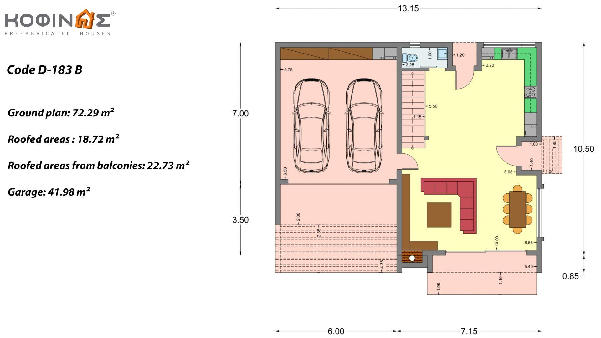 2-story house D 183B, total area 183.77 m²., +garage 41.98 m²(= 225,75 m²), covered areas 59.80 m², and balconies 28.09 m²