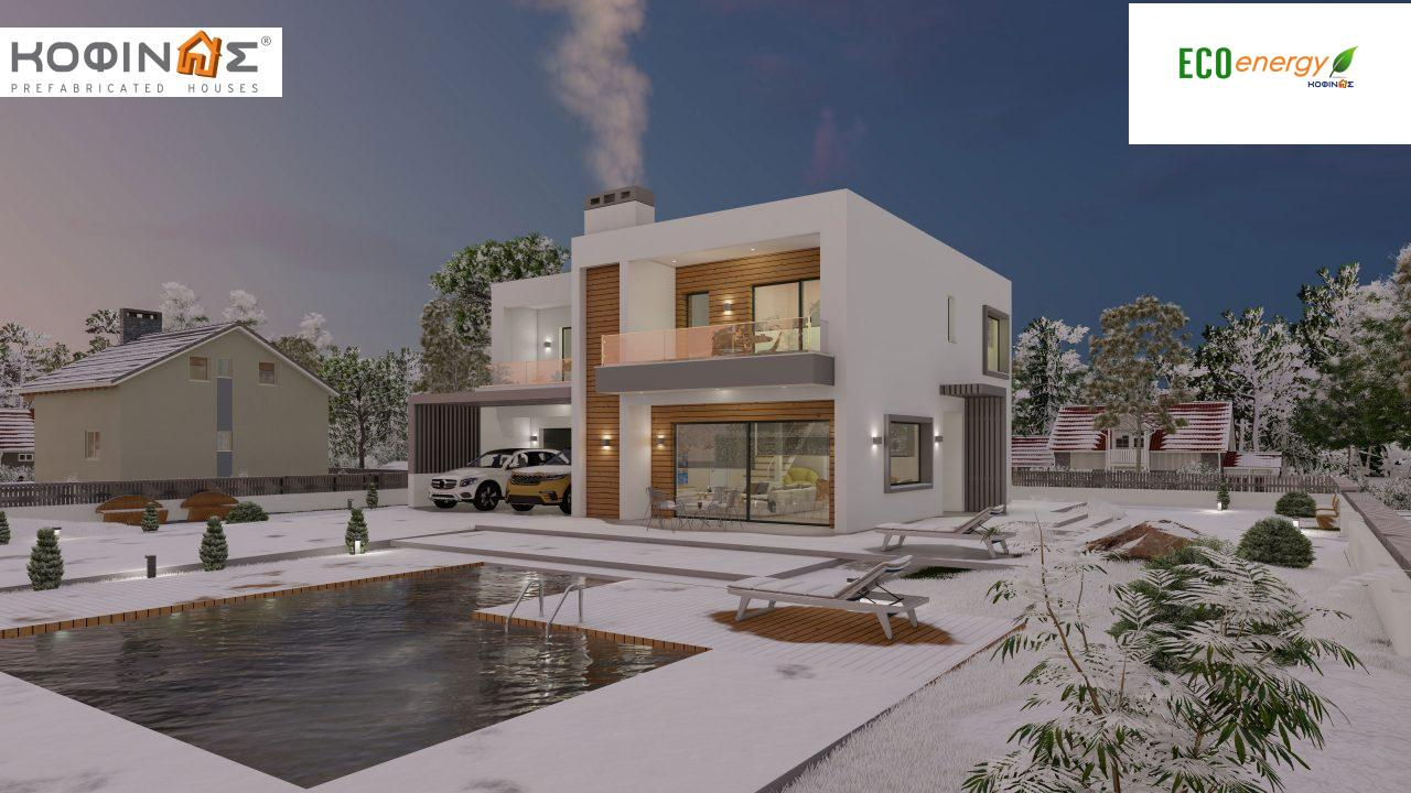 2-story house D 183B, total area 183.77 m²., +garage 41.98 m²(= 225,75 m²), covered areas 59.80 m², and balconies 28.09 m²9