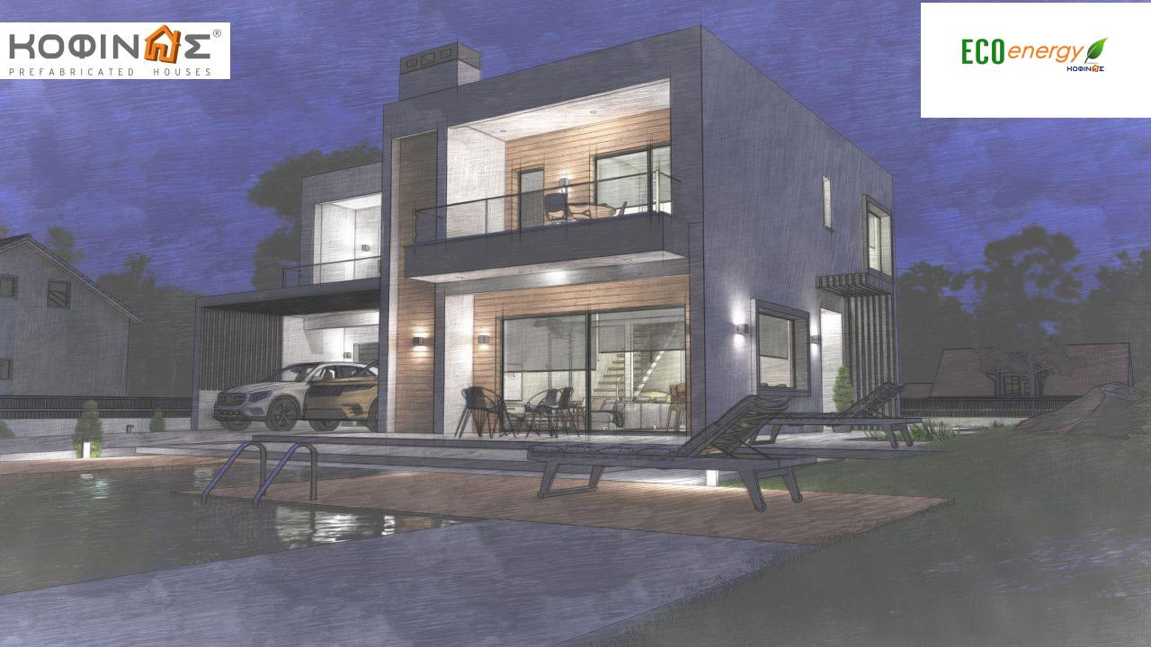 2-story house D 183B, total area 183.77 m²., +garage 41.98 m²(= 225,75 m²), covered areas 59.80 m², and balconies 28.09 m²11