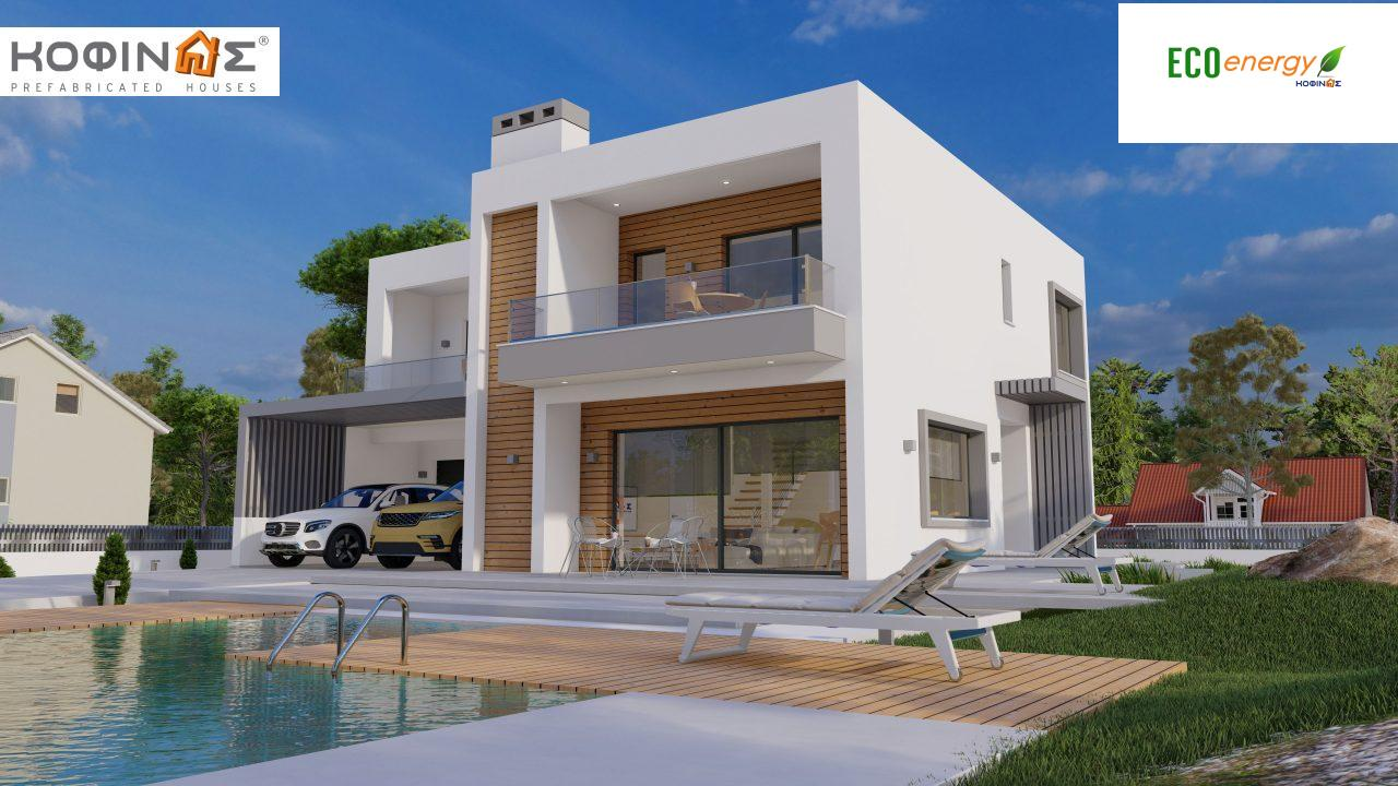 2-story house D 183B, total area 183.77 m²., +garage 41.98 m²(= 225,75 m²), covered areas 59.80 m², and balconies 28.09 m²2