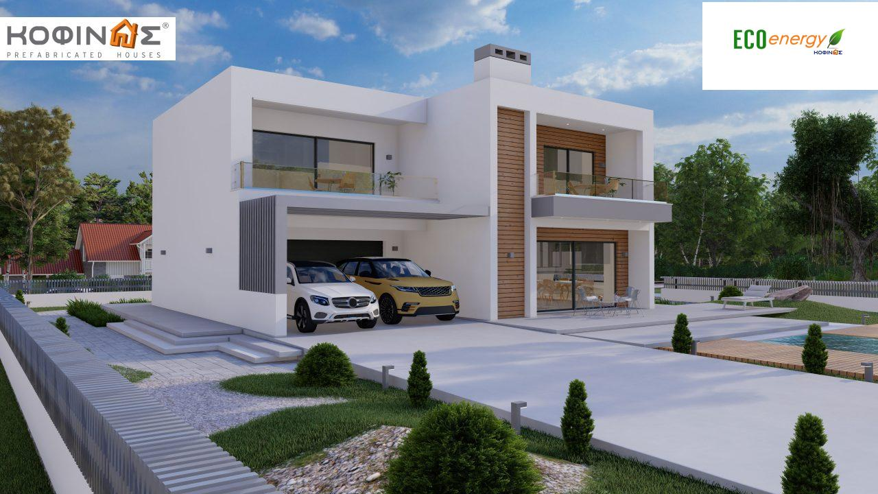 2-story house D 183B, total area 183.77 m²., +garage 41.98 m²(= 225,75 m²), covered areas 59.80 m², and balconies 28.09 m²4